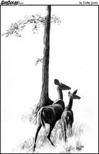 Two Deer By Tree